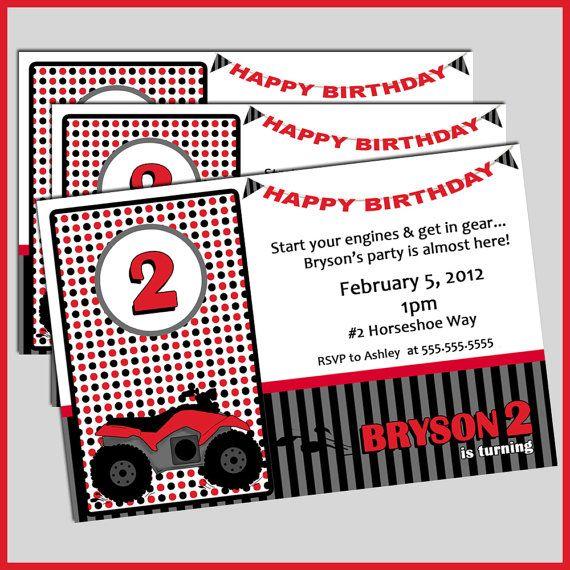 Four Wheeler Birthday Invitations 4wheeler Invites By LullabyLoo