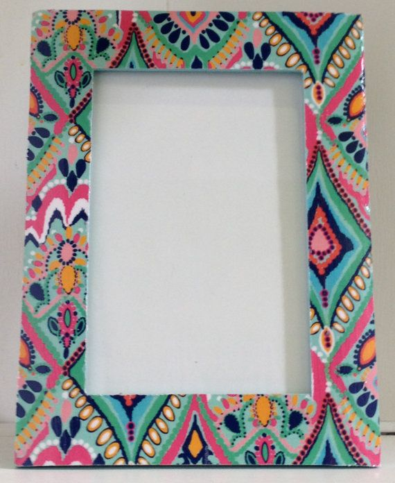 lilly pulitzer inspired rectangle picture frame with glass crown jewels print resort 12 from lwcdesigns