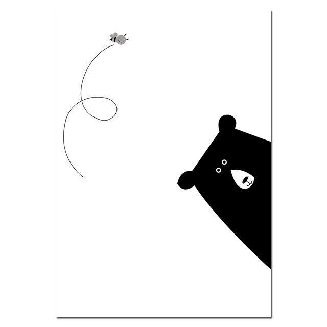 Black Whtie Bear Funny Quote Canvas Poster Art Prints Children Room Decoration