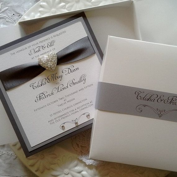 Red Wedding Invitation Card Invite Boxed Luxury от RedNell Cards - formal handmade invitation cards
