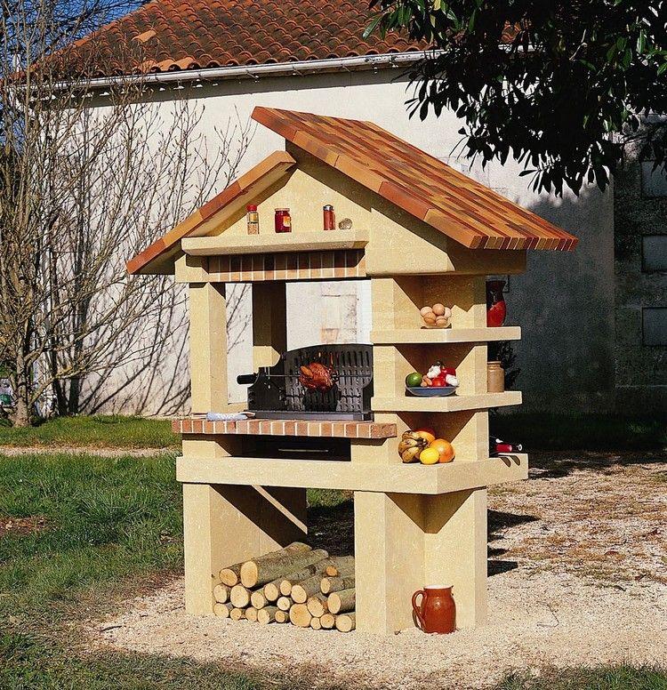 barbecue en pierre naturelle avec plan en brique rouge et toiture en