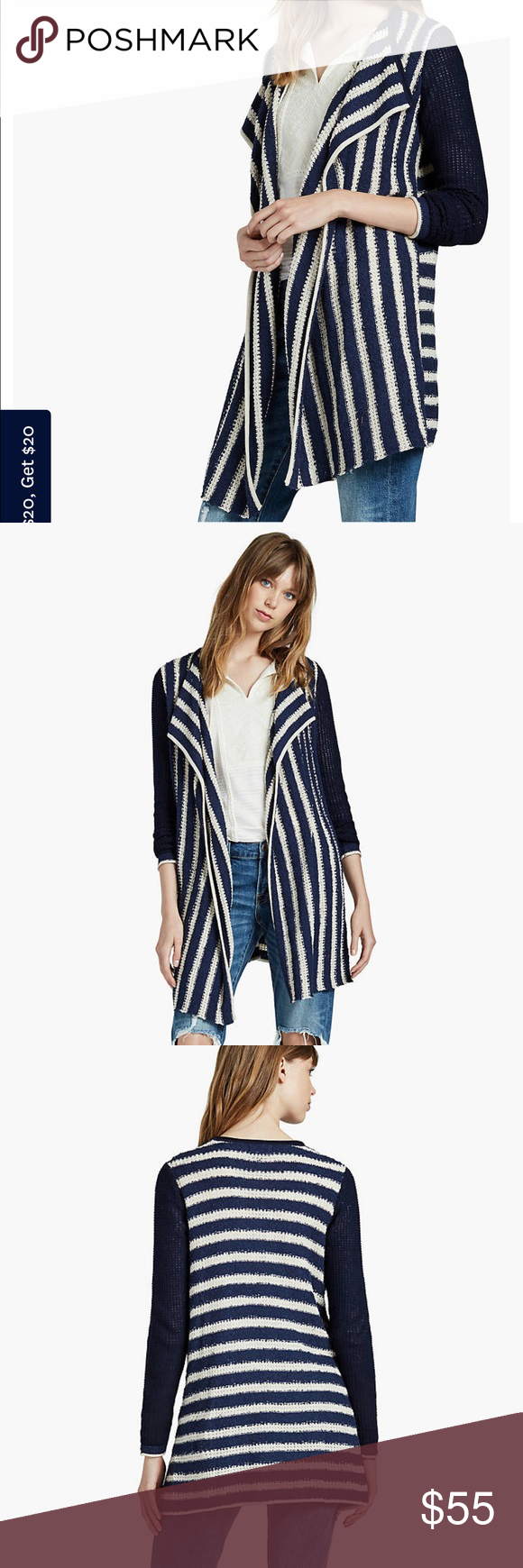 Lucky brand striped waterfall cardigan