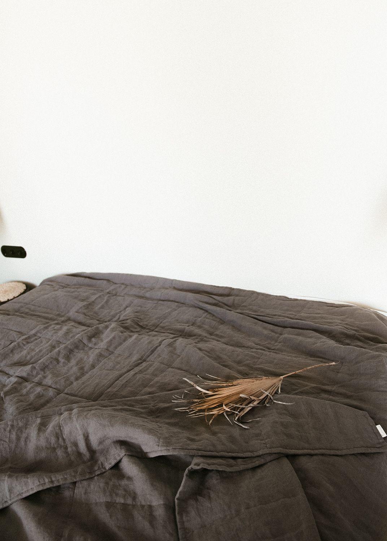 Queen Bed In 10x10 Room: Linen Quilted Bedspread / Linen Blanket / Stonewashed