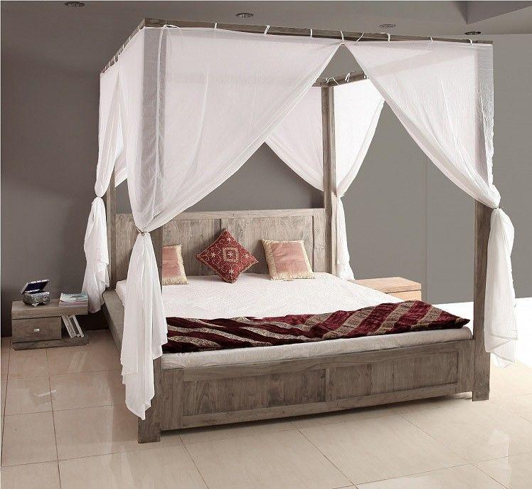 guru himmelbett 180x200 akazie sand bett mit stoff by wolf. Black Bedroom Furniture Sets. Home Design Ideas