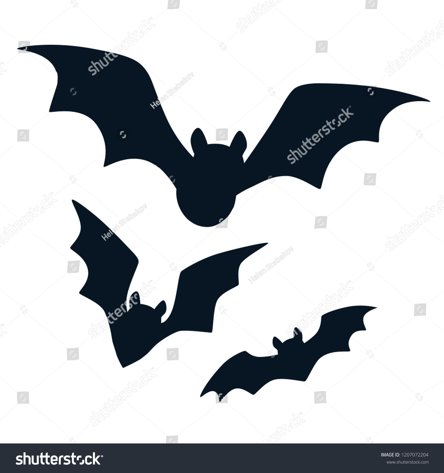 A Picture Of A Cartoon Bat halloween black bats flying silhouettes isolated on white