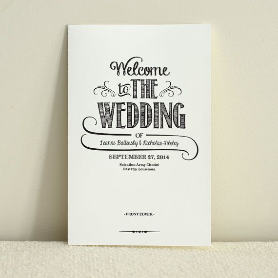 DIY Wedding Program \/ Order of Service - Handlettered Rustic Love - wedding template