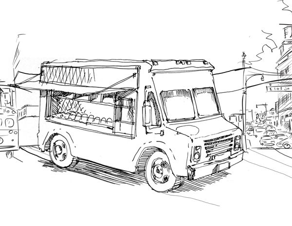 Line Art Truck : Food truck line drawing pixshark images