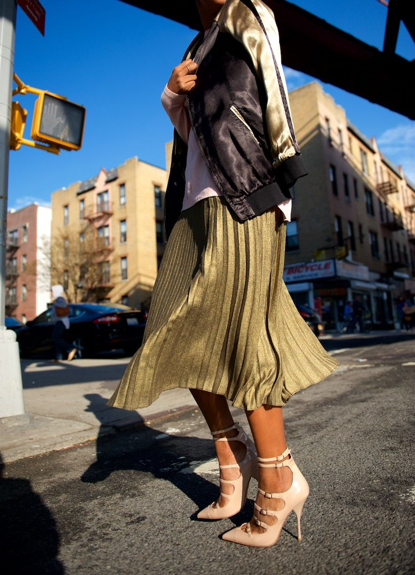 metallic pleated skirts | Outfit | Pinterest | Pleated skirts ...