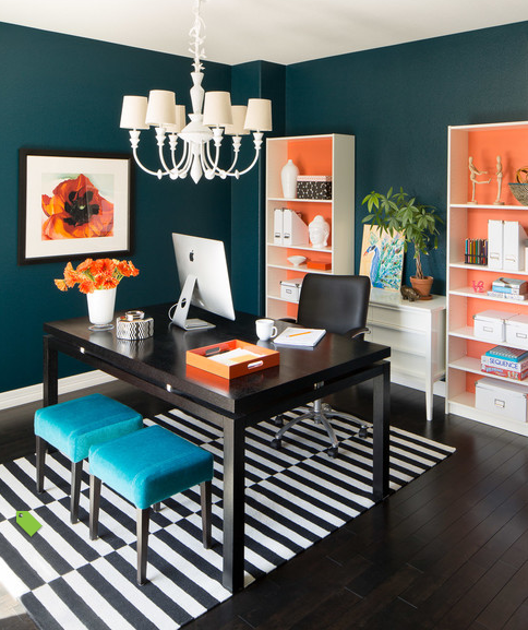 modern home office wall colors color scheme black white wood peacock orange paint colors in