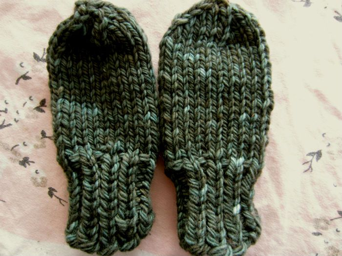 Free Pattern Chunky Baby Mittens With No Thumb Knitting