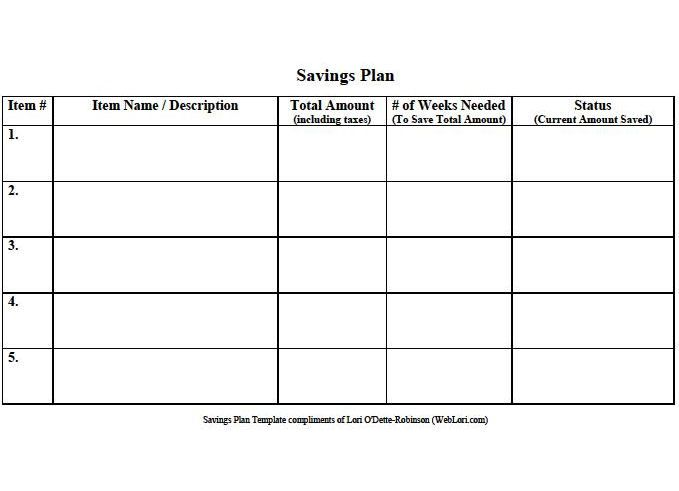 Savings Plan Template Located At HttpsWebloriComTemplates