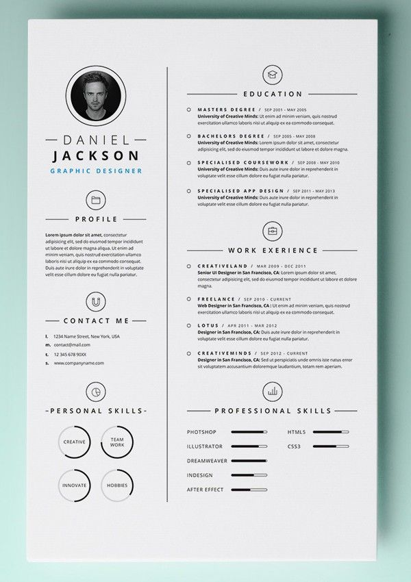 Free Resume Templates For Pages Cool Modern Resume Template  Single Page Resume Template  Cover