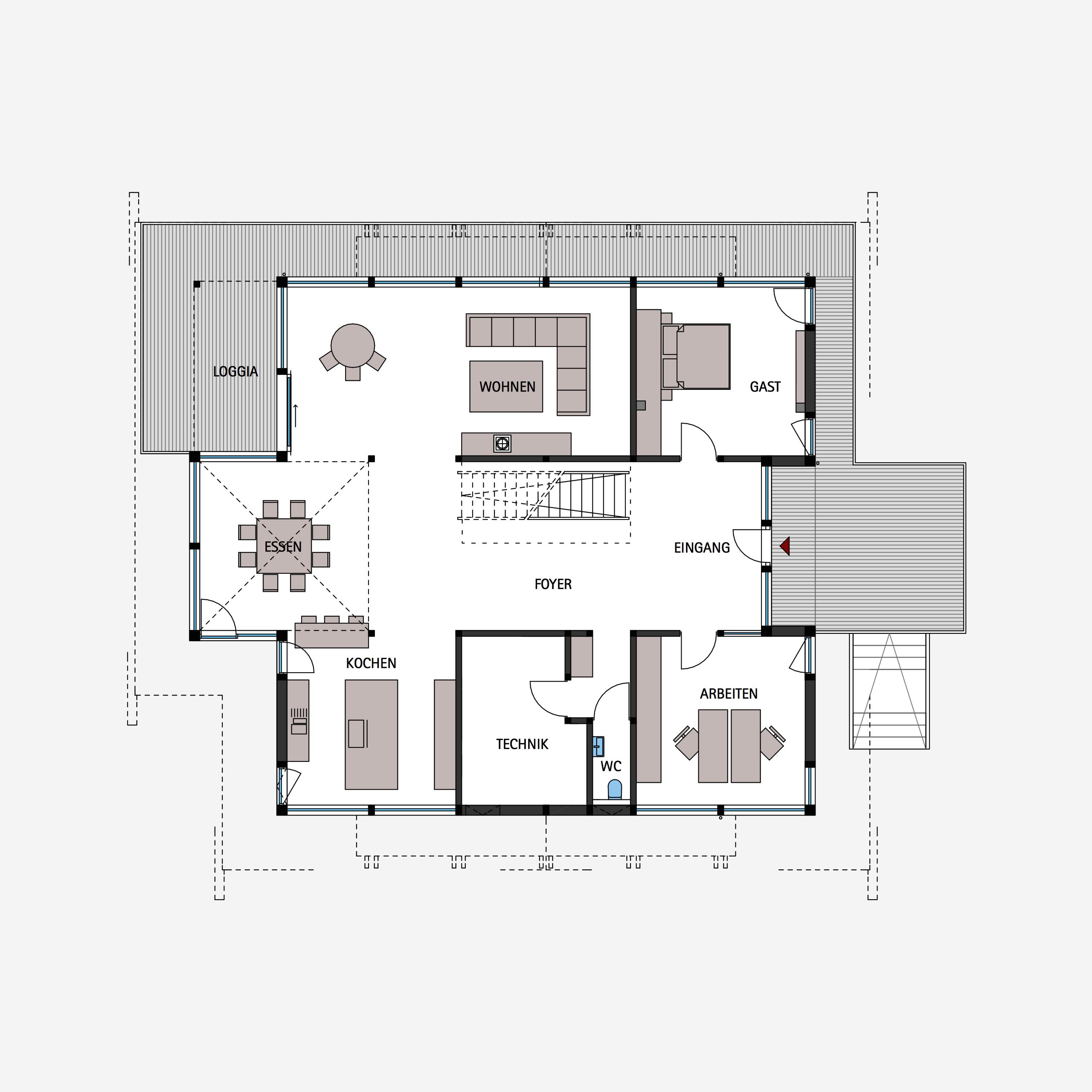 HUF Fachwerkhaus Grundriss Erdgeschoss ART 6 Grundriss