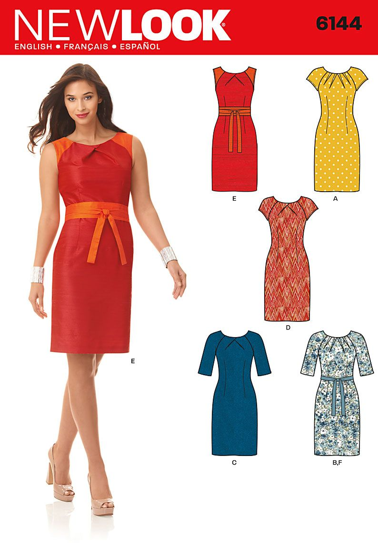 c1045290302 New Look 6144 long sleeve pleated neckline  2.2 1.6m hort sleeve darted  neckline  1.6 1.3m