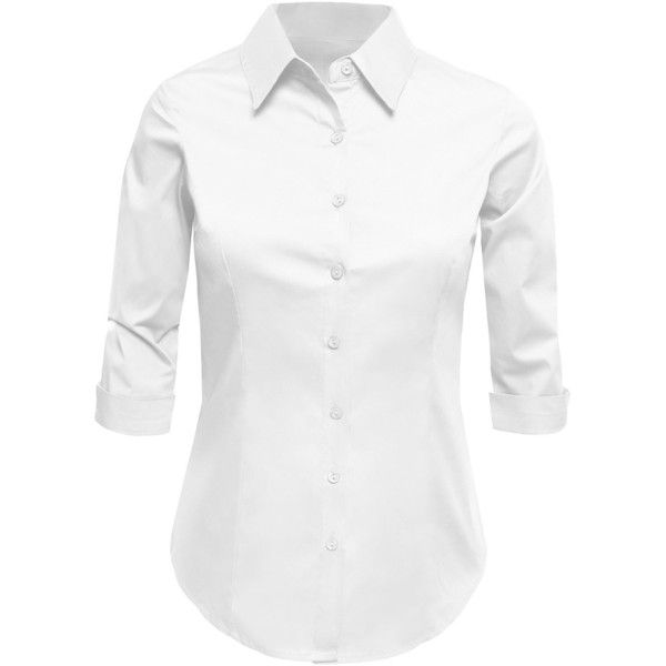 3a18066ee2ef6 LE3NO Womens Plus Size Roll Up 3 4 Sleeve Button Down Shirt with... ( 9.45)  ❤ liked on Polyvore featuring tops