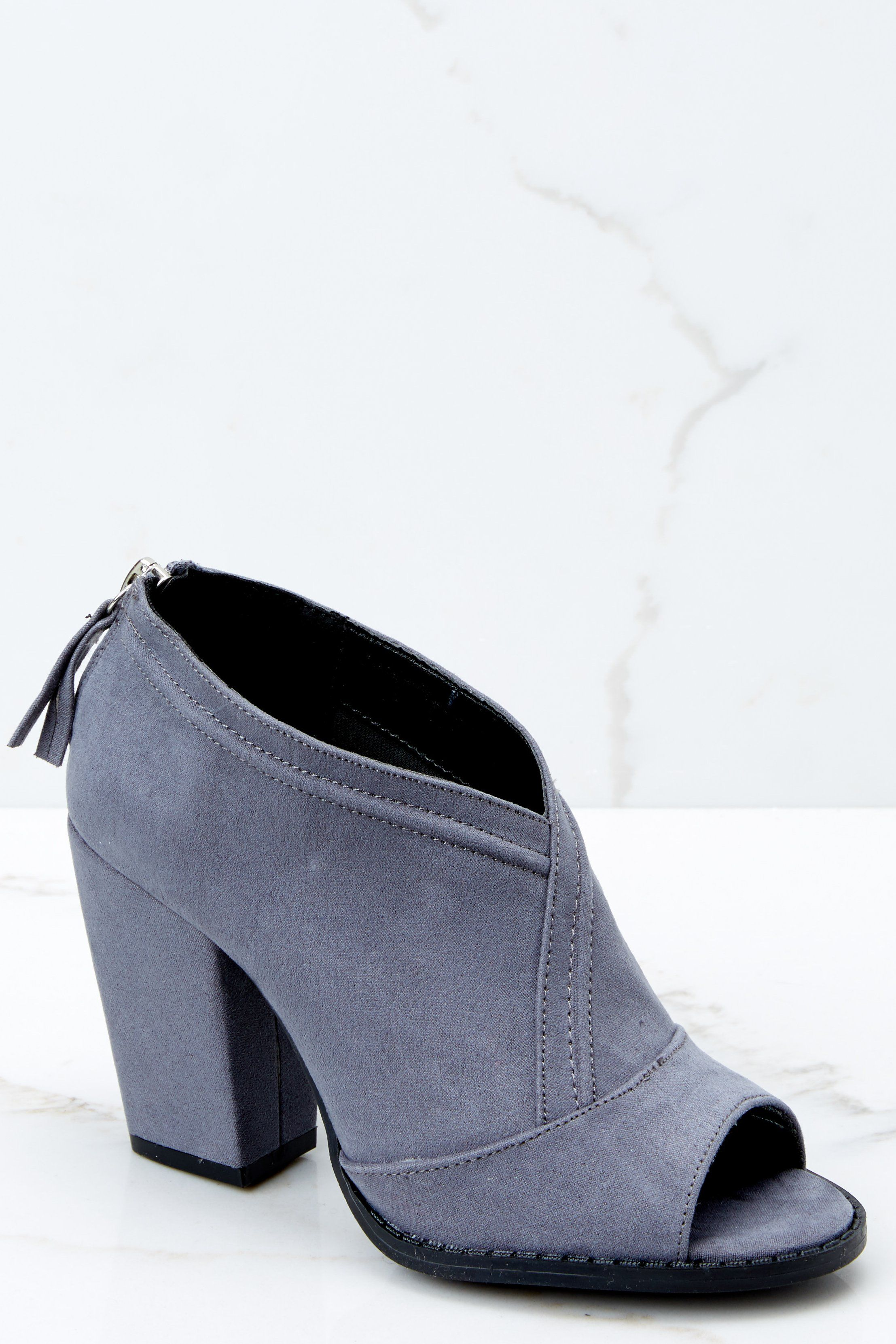992d7ea352bf Sexy Grey Peep Toe Booties - Vegan Friendly Heels - Ankle Boots -  36 – Red  Dress Boutique