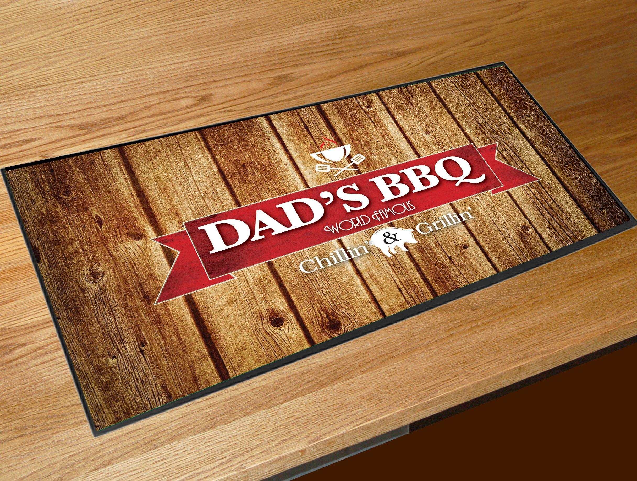 Dad's BBQ bar runner gift  Digitally Printed polyester surface with a non slip rubber backing. Perfect for any bar, Venue, Pub or home bar  • 440mm x 250mm • Non slip rubber polyester surface • Digital colour printing • machine washable