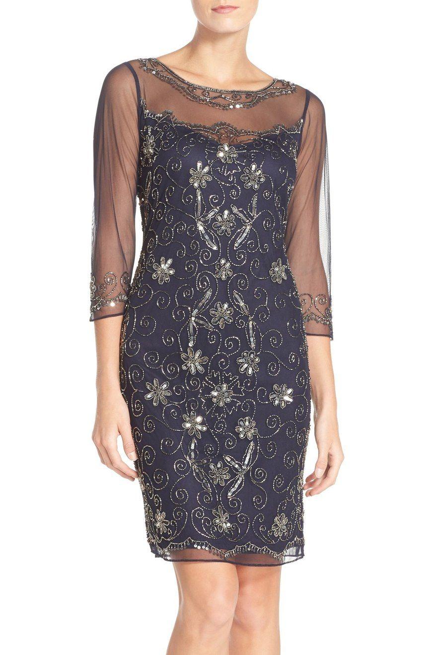 Pisarro Nights Beaded Mesh Sheath Dress Nordstrom Evening Dresses With Sleeves Dresses Evening Gown Dresses [ 1318 x 860 Pixel ]