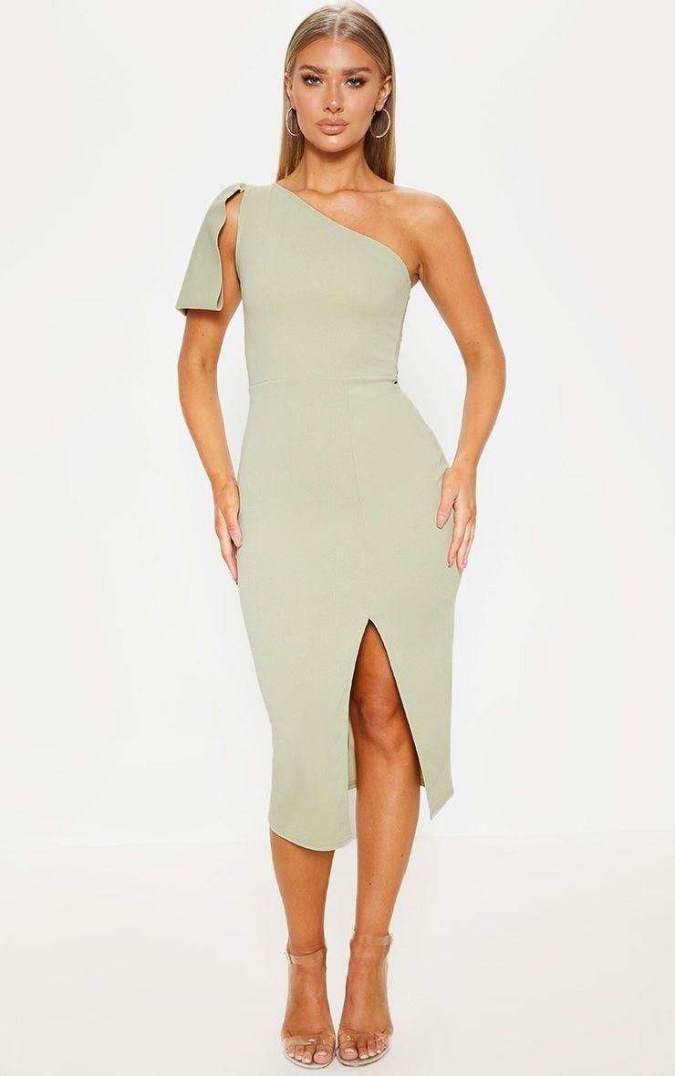 Sage Green One Shoulder Bow Detail Midi Dress Prettylittlething Ie Sage Green Dress Guest Dresses One Shoulder Dress Long [ jpg ]