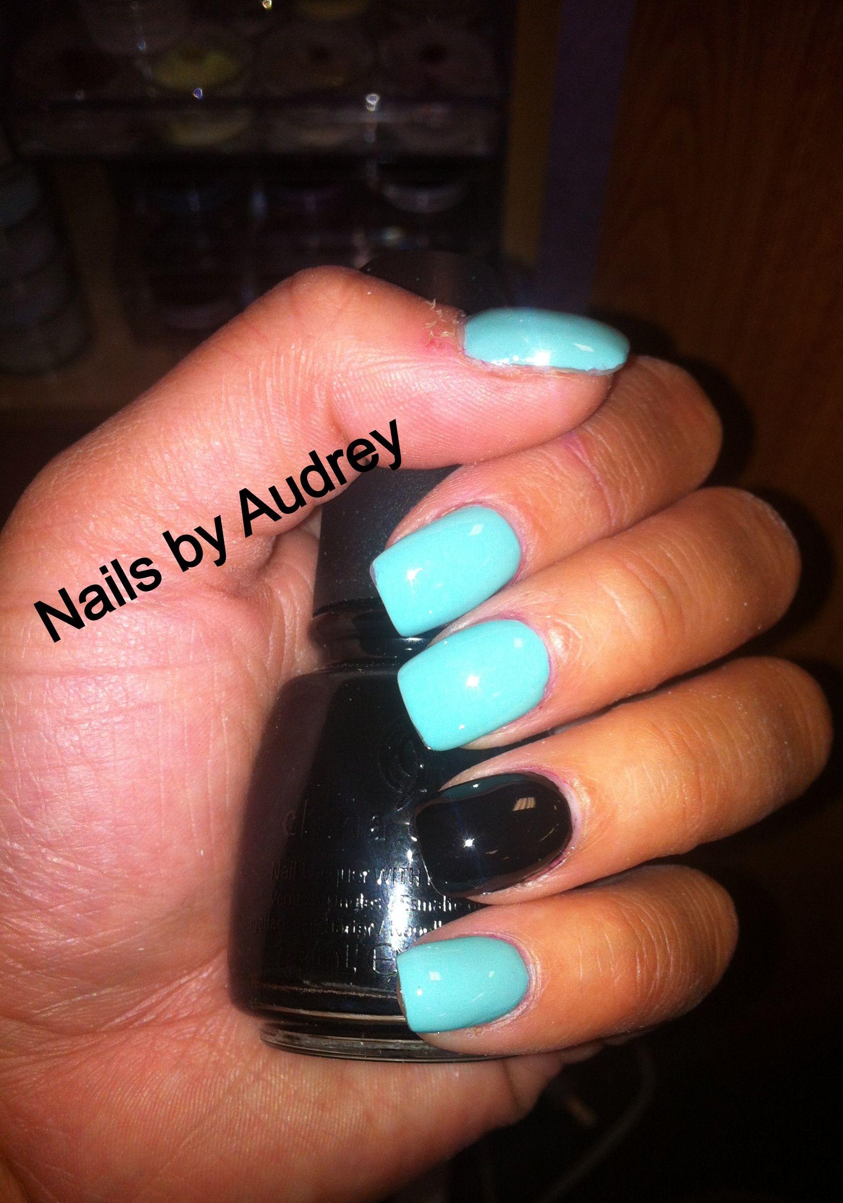 Black And Tiffany Blue Nails Blue Nails Tiffany Blue