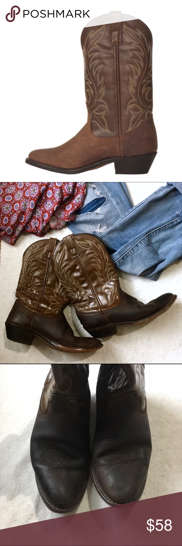 """Laredo Kadi women's cowboy boots Fashionable, distressed, western boots featuring decorative stitching, a rounded toe and a standard cowboy-boot heel.  western-style heel 11"""" shaft height decorative stitching on shaft round toe cushioned insole Laredo Shoes Heeled Boots"""