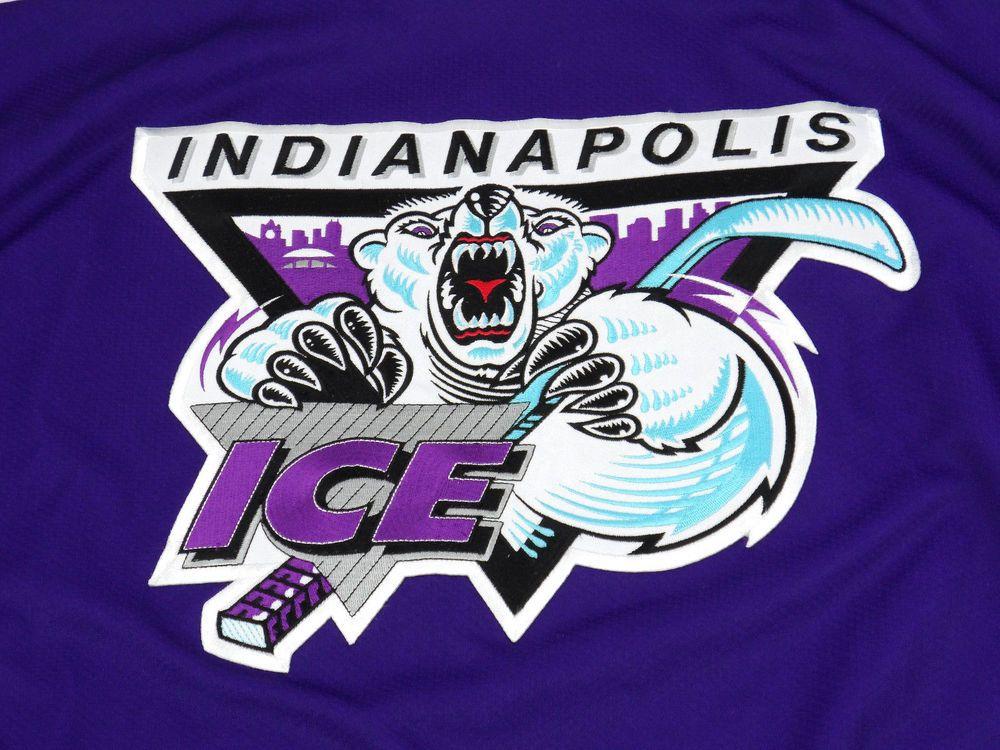 Vintage INDIANAPOLIS ICE Hockey Jersey Purple Black Mens