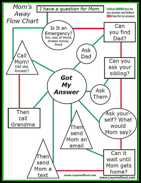 Love This Flow Chart For When MomS Away And The Kids Have