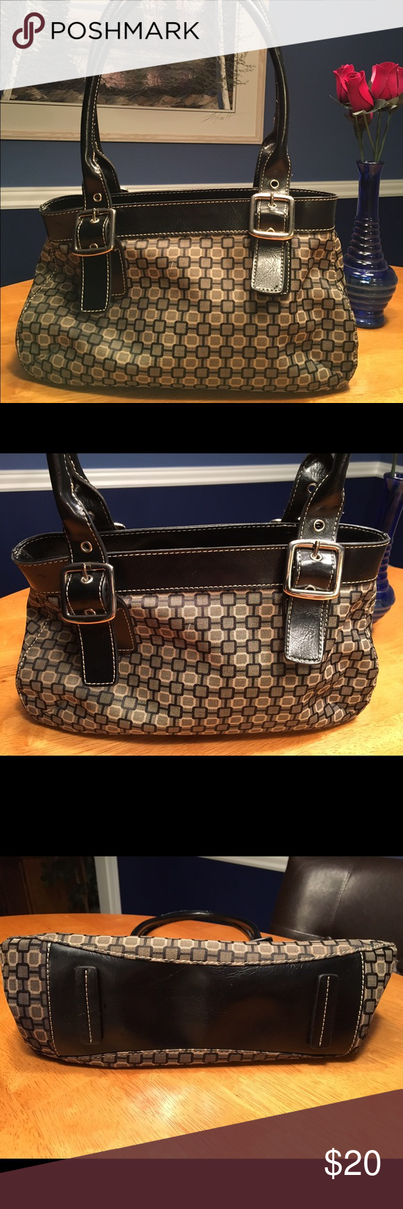 Nine West Purse Nine West medium size purse.  Black leather trim and straps with buckles. Fabric is black, cream with grey background. Classy looking purse that works with many outfits. Nine West Bags Shoulder Bags