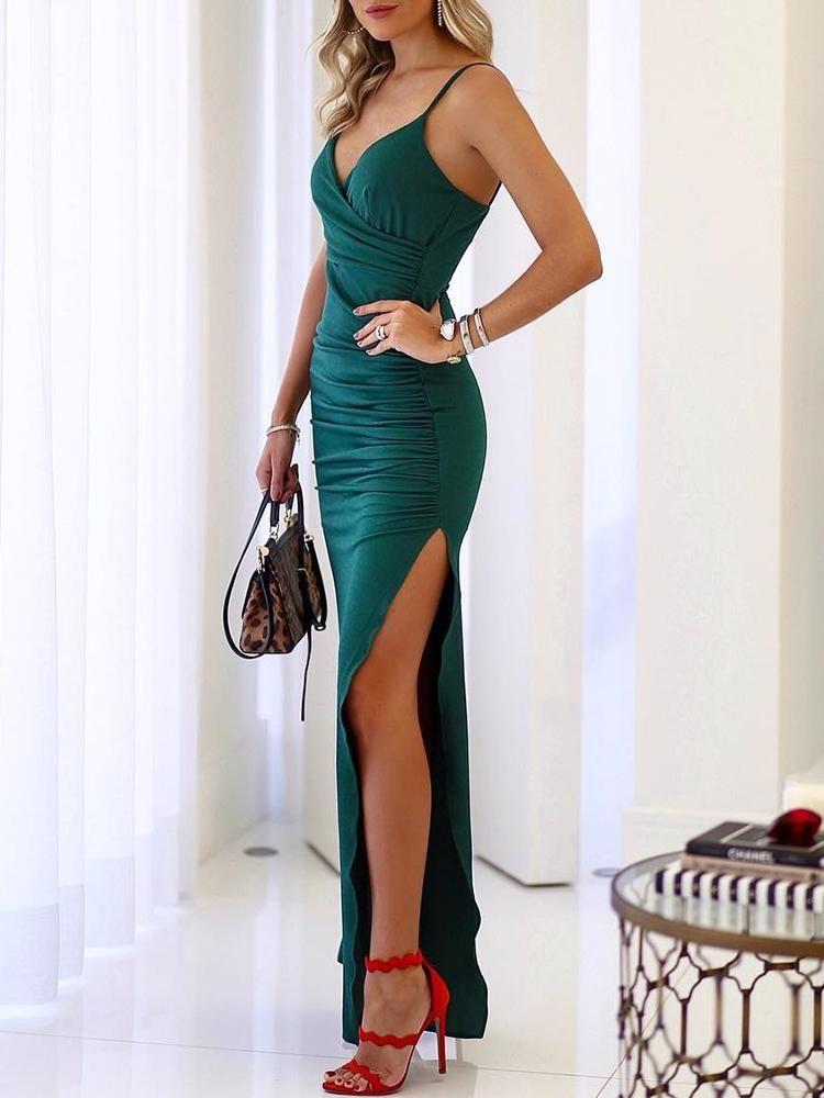 Spaghetti Strap Scrunch Thigh Split Evening Dress  fashion  beautiful  tops   style  women  Shoes 455911755c96