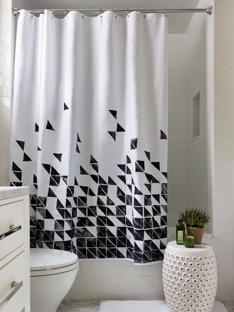 tende-per-bagno-fantasia-bianca-nera | Tende bagno | Pinterest