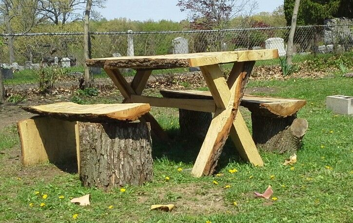 Log Picnic Table, Made From One Log All Cuts Made With A Chainsaw. My