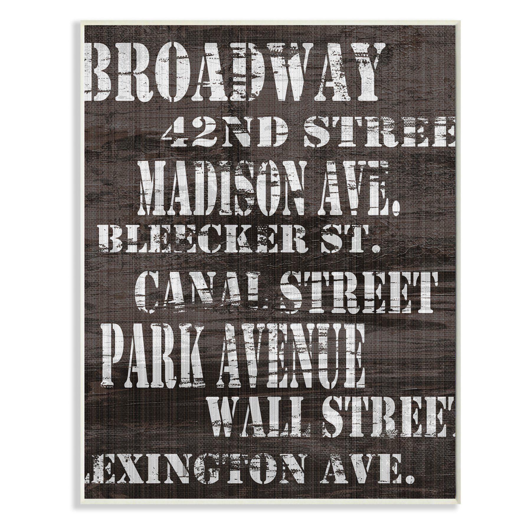 Stupell decor broadway new york city streets wall plaque art cw