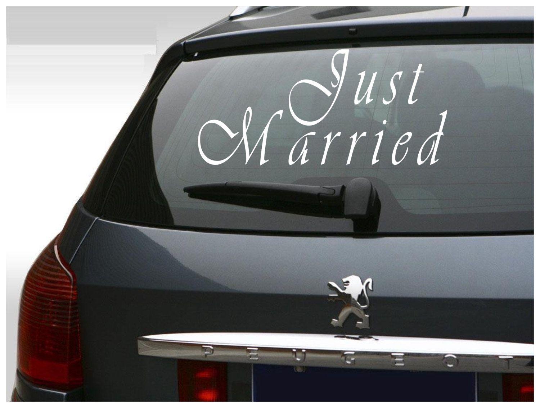 Just Married Vinyl Sticker Car Decal Wedding Decal Bride And Groom Sticker Custom Vinyl Decal Car Window Stickers Car Decals Vinyl [ 1134 x 1500 Pixel ]