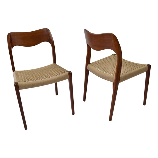 Niels O Moller Model 71 Teak Dining Chairs Model 77 Produced By J L Webb S Mid Century