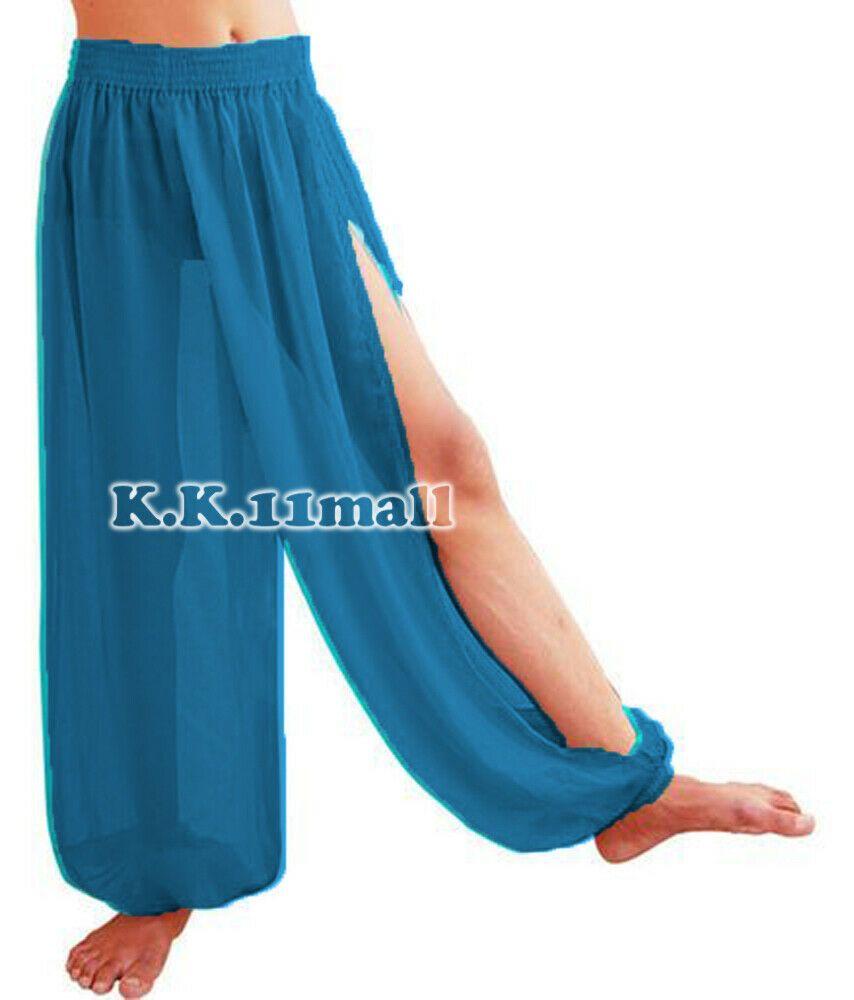 TURQUOISE Chiffon Side Slit Harem Belly Dance Costume BOHO Aladdin Trouser Pant