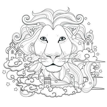 прекрасной Лев окраски страницы — Векторная картинка ...