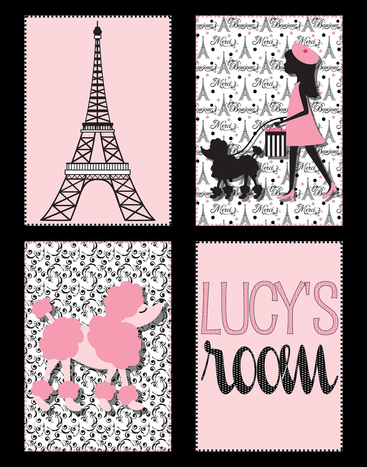 Eiffel Tower Amp Poodle Paris Print In Black And Pink 11x14
