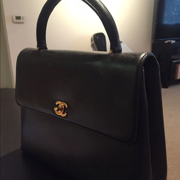 Chanel Kelly Beautiful vintage Chanel Kelly. Black with gold hardwear. Black Inside. NO TRADES. NO LOW BALLERS. CHANEL Bags Hobos