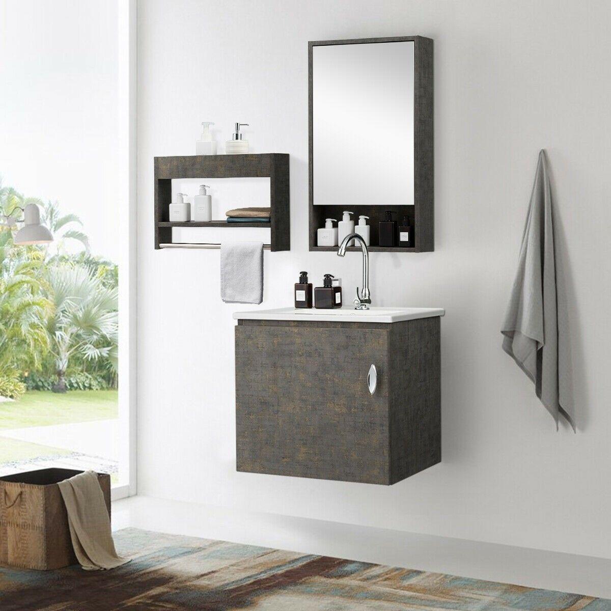Modern Wall Mounted Bathroom Vanity Sink Set Vanity Sink Bathroom Decor Colors Bathroom Vanity [ jpg ]