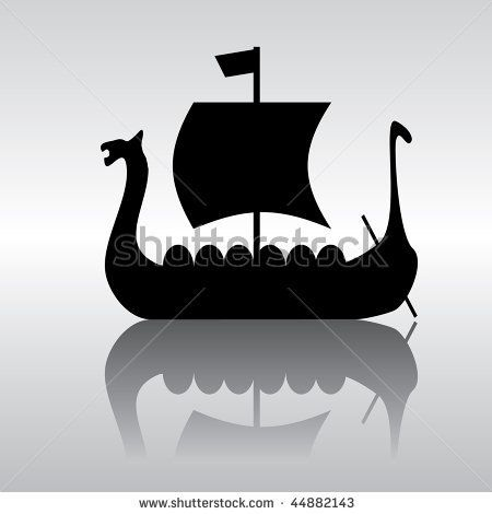 Vector Silhouette Image Of An Ancient Viking Ship Parusnog Viking Ship Vikings Silhouette Images