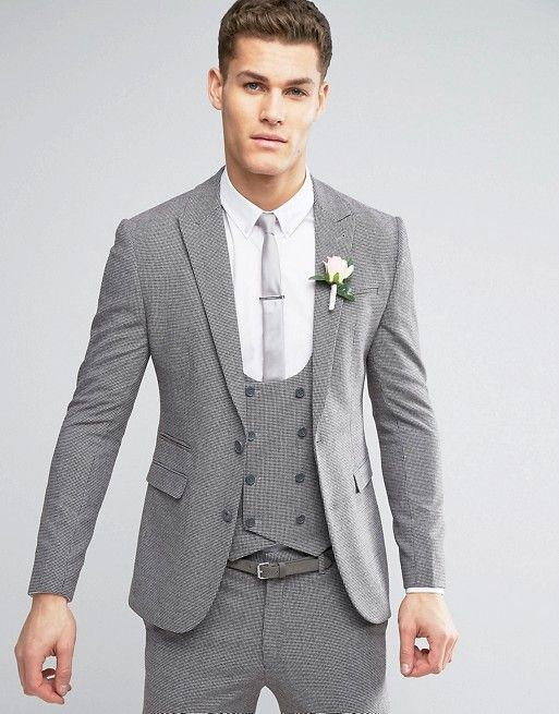 ASOS WEDDING Super Skinny Suit in Mini Check In Grey | Grooms ...