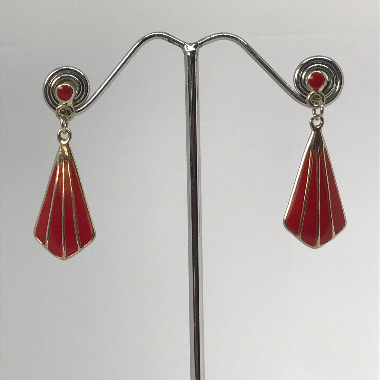 079f2af1012ab One pair vintage red enamel dangle stud earrings Enamel gold drop ...