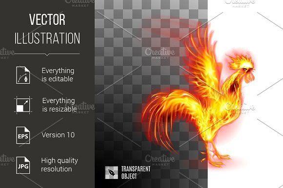 Fiery Golden Rooster. Pattern Vectors. $5.00