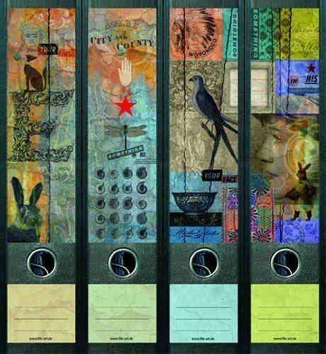 file art 4 design ordner etiketten collage with a star 468 ordner. Black Bedroom Furniture Sets. Home Design Ideas