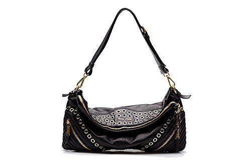 414d48752f2a MIU MIU Women s Biker Nappa Leather Shoulder Bag Satchel Handbag Black