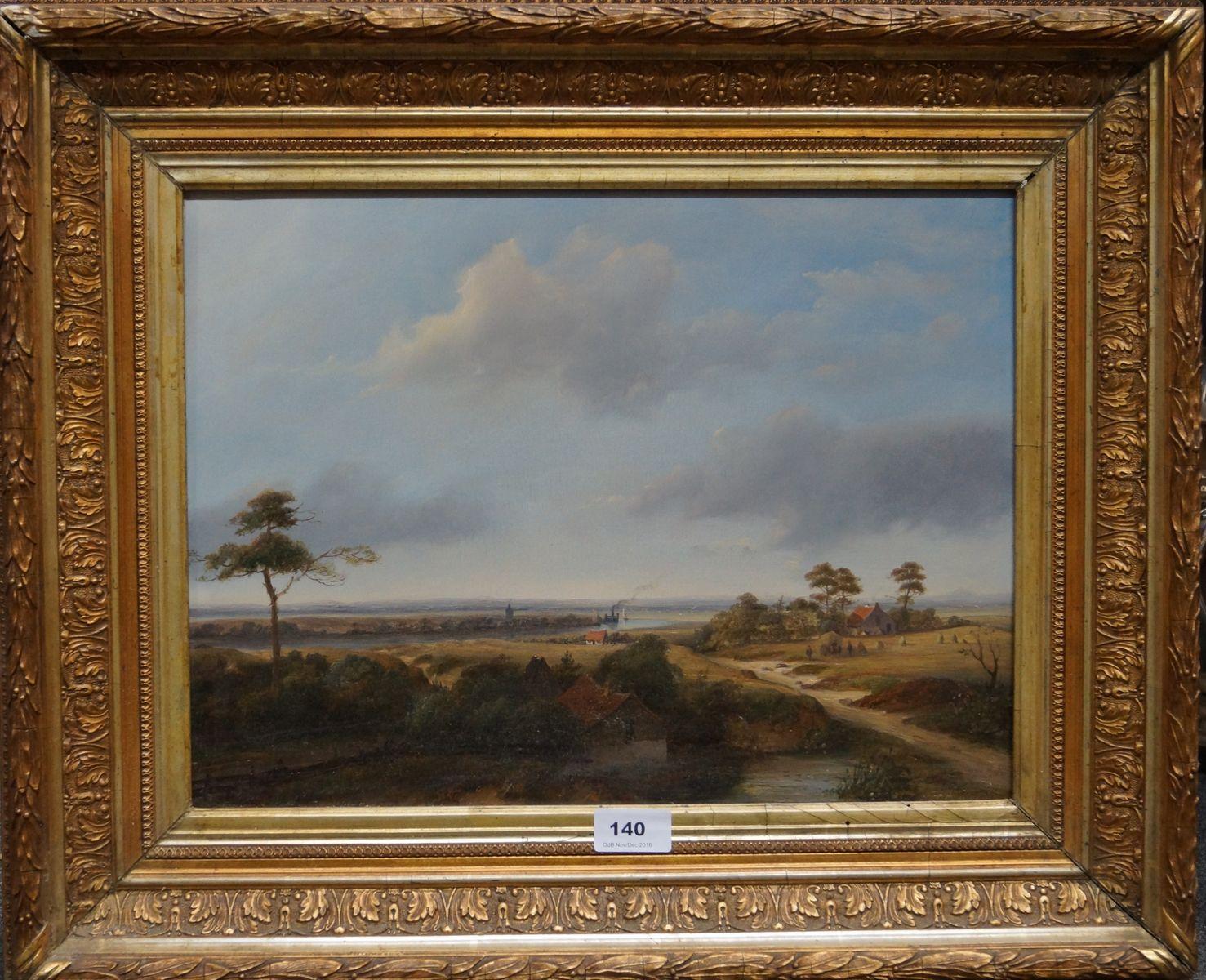 Johannes Josephus van Mulken (1796-1879), r.o. gesigneerd en gedateerd 1852, olieverf op paneel, weids zomerlandschap met IJmuiden aan de horizon,