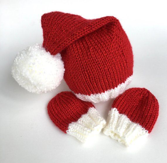 Easy Newborn Santa hat knitting pattern - baby mittens knitting pattern - Christmas  baby hat knittin e7278b5fc05
