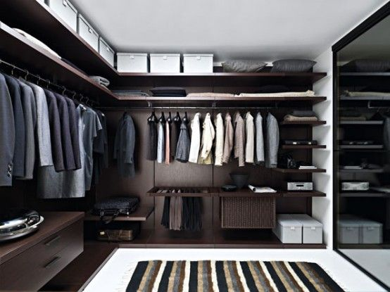 Mens walk in closet with a touch of class #walkincloset # ...