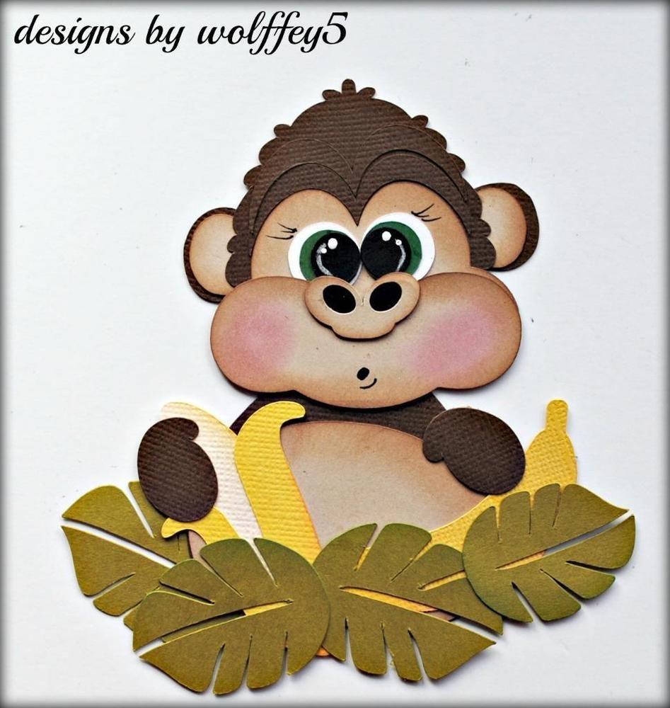 Zoo animal scrapbook ideas - Elite4u Monkey Zoo Jungle Paper Piecing Premade Scrapbook Page Die Cut Wolffey5