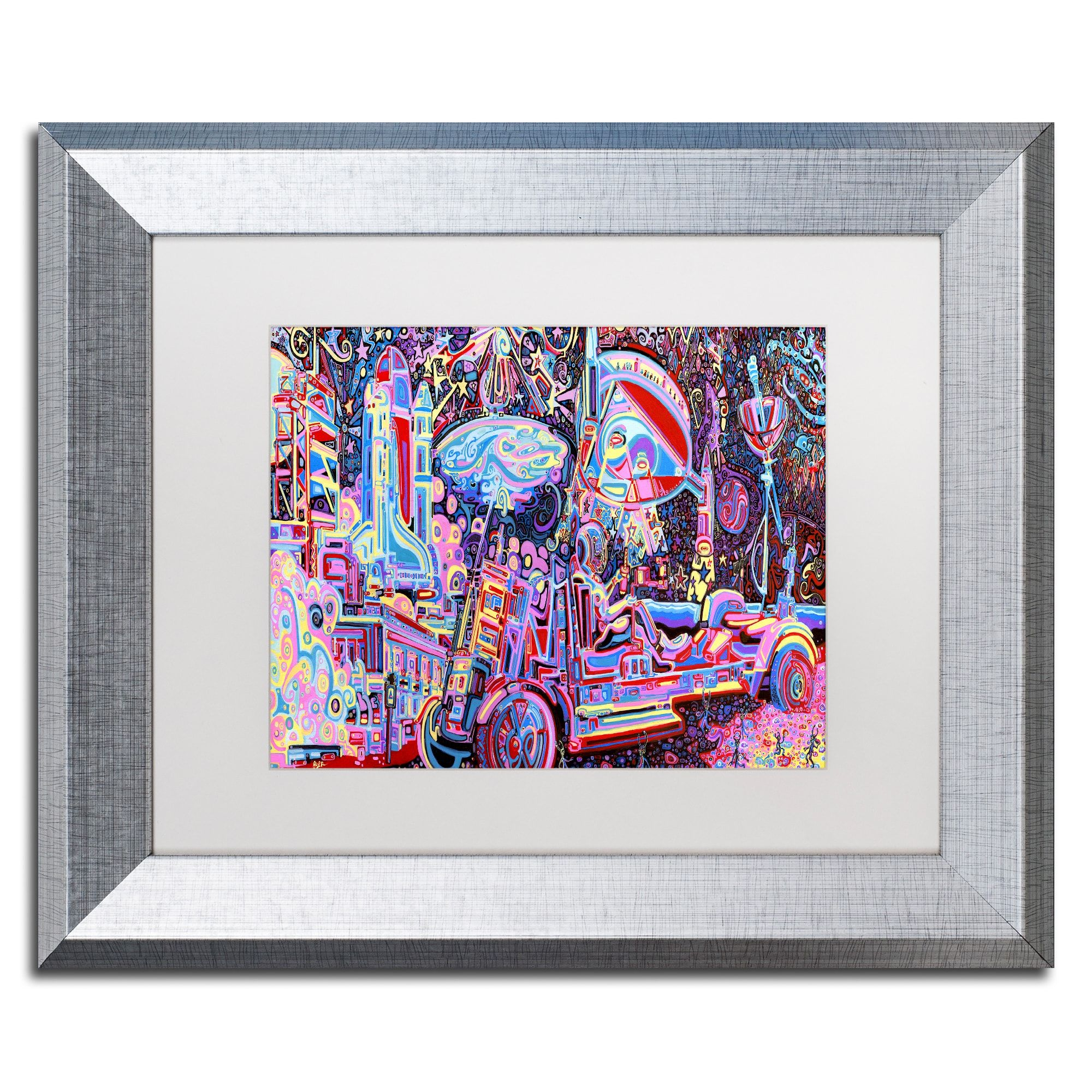 Josh byer moon buggy matted framed art products pinterest trademark fine art moon buggy canvas art by josh byer white matte birch frame size 11 x multicolor jeuxipadfo Images